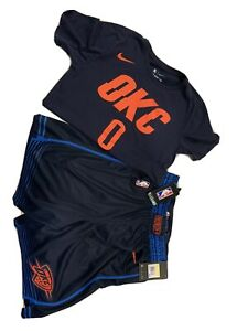 Nike OKC oklahoma city thunder Russell westbrook shirt and matching shorts