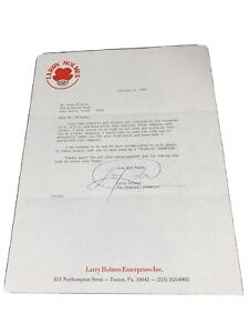 """Larry Holmes Boxer Autograph Signed Letter February 4, 1988 """"Rare Item"""""""