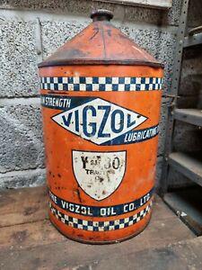 Rare Vintage Vigzol Oil Drum Automobilia Garage Barn Find Tractor Motor Can