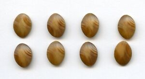 """8 MATCHING VEGETABLE IVORY buttons--OVAL w/PRESSED PATTERNS--5/8"""" x 7/16"""""""