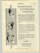 1929 PAPER AD Voices Inc Mama Doll Voice Maker Waldorf Toys