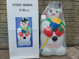 Blow mold snowman with broom TPI style blowmould christmas light decoration