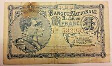 1 Franc 1920 Belgïe Banknote Belgium Belgique, 1 Frank, 1920, TTB
