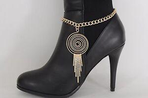Women Gold Metal Chain Boot Bracelet Anklet Shoe High Heels Bling Jewelry Swirl