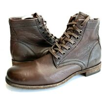 Frye Boots Womens Tyler Lace Up Cognac Dark Brown Leather Ankle Boots Sz 7.5M