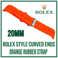 ♛ 20mm Curved End, Silicone Rubber Orange Watch Strap, For Rolex Submariner ♛
