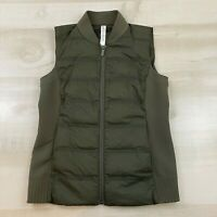Lululemon Womens Size 4 Olive Down And Around Puffer Vest Zipper Closure Pockets