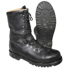 Austrian Bundesheer Black Leather Army Combat Boots, Used, Size 10.5/11 US