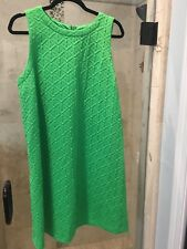 Crown Ivy Kelly Green Dress Sz L XL Poly Diamond Print Nice Womens