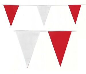 10M RED WHITE TRIANGLE ENGLAND BUNTING EURO 2021 GARLAND FOOTBALL DECORATIONS