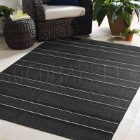 Cabana Black Indoor/Outdoor Modern Floor Rug (M) 160x230cm **FREE DELIVERY**