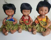 Vintage Hawaiian Hula Baby Dolls Jointed Sleepy Eyes Grass Skirts Lot Of 3