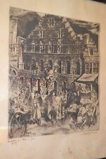 Gravure ancienne La maison de l'Etape à Gand signée VAN PETEGHEM 1910