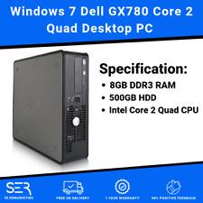 Windows 7 Dell GX780 Core 2 Quad Desktop PC Computer - 8GB DDR3 - 500GB - Wi-Fi