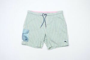 Tommy Bahama Relax Mens 2XL XXL Multi-Color Striped Lined Swim Trunks Shorts