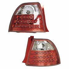 1994-1995 94-95 Honda Accord LED Taillight Tail Light Lamp Pair Set Red/Chrome