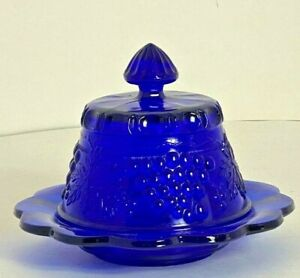 Mosser Cobalt Blue Grape & Cable Round Covered Butter Cheese Dish Vtg