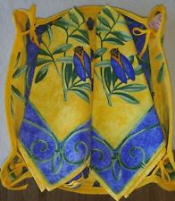 Yellow Blue Olive Scroll Printed Soft Cloth Bread Basket & Napkins France New