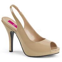 Pleaser EVE-04 Womens Cream Patent Platform Peep Toe Slingback Sandals High Heel