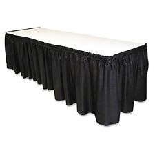 "14' x 29""-Black Linen Like Soft Table Skirt Non Woven-Polyester/Nylon Blend 1 pc"
