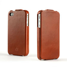 Novada Duke iPhone 4 4s Echtleder Flip Case Cover-hellbraun