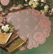 PRETTY Roses in Bloom Filet Doily/CROCHET PATTERN INSTRUCTIONS ONLY