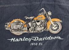 Harley Davidson Motorcycle Blue 1950 El Embroidered Button Up Large Silk Shirt