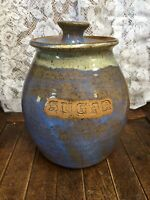 VTG Hand Thrown Pottery Sugar Canister Hand Thrown Glazed Blue Green Tans Brown