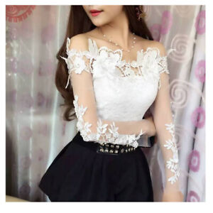 Womens Sexy Off Shoulder Lace Embroidery Shirt Floral Mesh Hollow Out Blouse Top