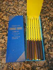 Vintage Stainless Steel Fondue Forks Set of 6 Color Coded Wood Handles