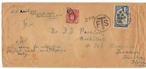 CEYLON 1936 POSTAGE DUE BATTICALOA TO TAMPA FLORIDA