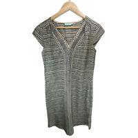 Blue Illusion Silk Geometric Vneck Short Sleeve Straight Dress Size XS
