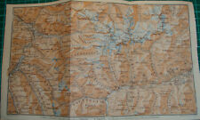 Unter Engadin Schlappin Davos Klosters Schuls Antique map karte 1909 cartina