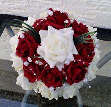 Künstlicher Brautstrauss Brautkleid Hochzeit Brautstrauß creme bordeaux Rosen