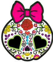 20   water slide nail decals Diy Day of the dead sugar skull w Pink bow 3/8 inch