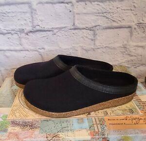 Haflinger Grizzly Clog Slippers EUR 43 Mens Size 10 Black Boiled Wool Shoes