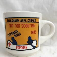 Boy Scout Mug Canoeing Pop For Scouting Pecatonica River Blackhawk Area 1985 BAC