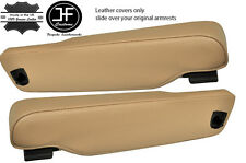 TAN LEATHER 2X SEAT ARMREST COVERS FITS LAND ROVER RANGE ROVER P38 1996-2002