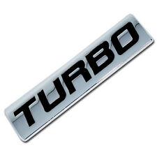 CHROME/BLACK METAL TURBO ENGINE RACE MOTOR SWAP EMBLEM BADGE FOR TRUNK HOOD DOOR