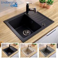 """LINDBERGH® Granit Spüle """"SIM"""" + Siphon Einbauspüle Küchenspüle Spülbecken"""
