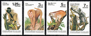 Thailand 1017-20,MNH.Monkeys.Pileated Gibbon,Pig-tailed Macaque,Slow Loris,1982