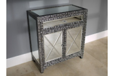 BLACK SILVER EMBOSSED MIRRORED GLASS SIDEBOARD CABINET HALL STORAGE (DX3239)