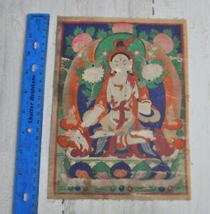 Mongolian Tibetan Antique Thanka Thangka Painting White Tara Bodhisattva goddess