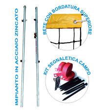 Starter Kit Beach Volley con pali in acciaio rete normale e fettucce segnacampo