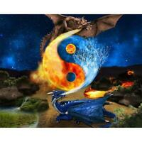 5D DIY Full Drill Diamond Painting Dragon Cross Stitch Embroidery Craft Kit #gib
