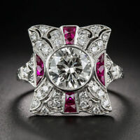 2.25 Ct CZ White & Red Ruby Vintage Round Cut Art Deco Engagement Ring Silver