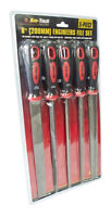"5pc 8"" 200mm Soft Grip Assorted Engineer Metal File Set Heavy Duty"