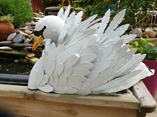 Large Metal White Swan Garden Outdoor Statue Ornament - High Quality Gift Idea