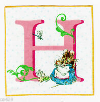 """3.5"""" Beatrix potter letter h square nursery wall safe fabric decal cut"""