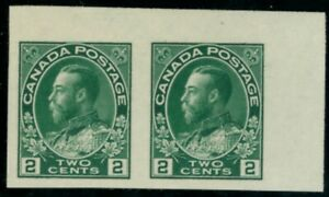 Canada  Stamps #137 imperf pair mvlh/mnh green 2 cent XF